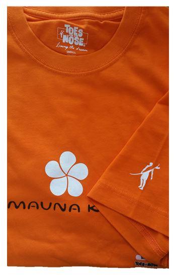1ea329a63 Men's short sleeve crew neck T-shirt with front and sleeve screenprints.  Front center with signature Mauna Kea Beach Hotel orange plumeria logo.